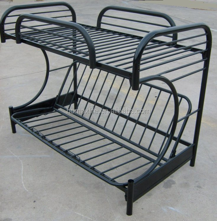 Cama muebles negro futón cama litera de metal doble estructura ...