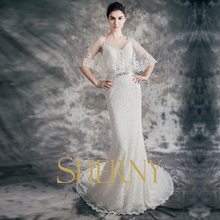 2015 New Style Sherny Bridals sequined beaded lace mermaid sweetheart neckline sexy see through back wedding dress online sale