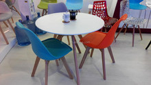 Promotional high quality solid wooden legs plastic replica PU cushion eames chair