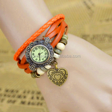 2015 new arrival heart Original High Quality Women Genuine Leather Vintage Watch,Bracelet Wrist watches