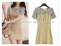 OL WOMEN KOREAN FAKE TWO STRIPED STITCHING SLIM DRESS D90680S