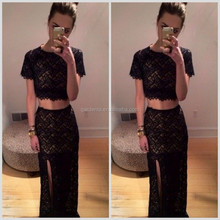Two Piece Black 2015 Short Sleeve Chiffon Elegant Party Long Women Evening Dress with High Slit