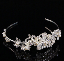 Stunning Wedding Bridal Party Tiara Crystal Rhinestone Pearl Crown Headband