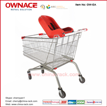 Stainless steel supermarket hand shopping trolley cart with baby seat and wheels