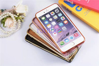 Luxury Capa Para Metal Frame Genuine Leather Back Case Cover for iPhone 5 5S