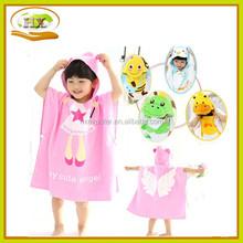 kids soft cotton-velvet hooded beach towel poncho towel