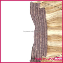 Double drawn halo hair weft,remy human hair flip in extension,lace band halo hair extension