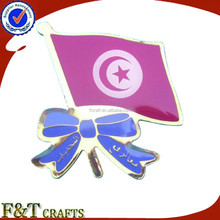 Unique metal small Tunis car flag badge with bow