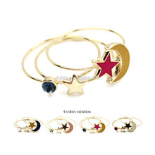 Vintage Womens Girls Elegant Moon Stars Midi Rings 3pcs Pack Fashion Rings Gift Accessories Blue Orange Pink and White Tone