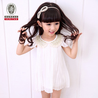 2014 fashion baby dress gold sequin collor chiffon prince children dress