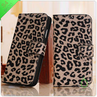 2013 New arrive fit for samsung galaxy s4 pu leather case Leopard pattern(xguo01)