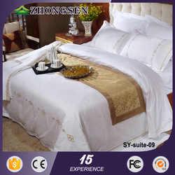 European style 100% cotton plain fabric wedding bedding set