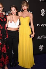 Celebrity Inspired Yellow Strapless Chiffon Evening Prom Dress Warner Bros. Golden Globes after party