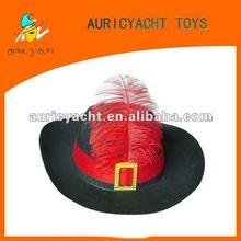 Negro pluma del sombrero flexible sombrero para el partido sombrero