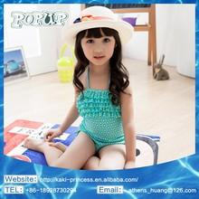 Yellow Polka Dot 2015 Kids Girls Swimwear Blue Beautiful Girl Sexy Bathing Suit