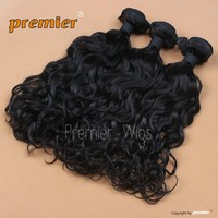 wholesale briliant 16' natural color natural curl brazilian Virgin Hair Machine-made hair weave