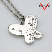 MINGFU stainless steel plated shhiny puresilver necklace with stones