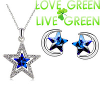 hotsell shine star moon jewelry set women fashion brand 18K white Gold plated Austrian Crystal pendant necklace earrings 80029-2