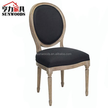 French style antique oak wood oval back louis dining chair/Lousi VX chair/linen fabric side chair