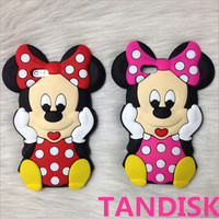 For Disney 3D Mickey Minnie Mouse Animal Silicone Phone Case for iPhone6 plus