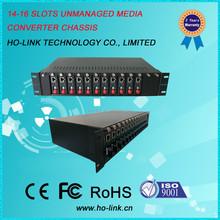 Dual power supply 16 slots media converter rack mount:2U fiber media converter chassis