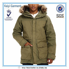 green fashion long winter padded parka jacket for men with fur hood