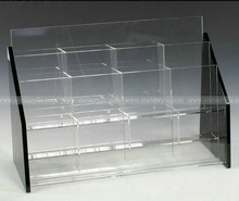 Acrylic 12 Pockets Fit 4 x 9 Pamphlets - Black,5 Pockets Acrylic Tabletops Brochure Holder