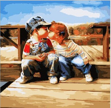 BOY AND GIRL OIL PAINTING BY NUMBERS FUNNY PAINT BY NUMBER