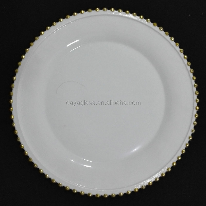 13inch wholesale white beaded charger plate with gold buy beaded charger plate white