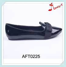 Latest women shiny point toe flat shoes for women footwear 2016