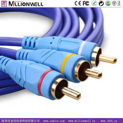 Millionwell strong double PVC jacket 3 RCA to 3 RCA cable , audio video cable , 3 male to 3 male