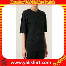 High quality custom cheap black short sleeve 100%cotton mix size blank distressed t shirts for women