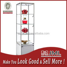 MDF+wood veneer structure sliding glass door showcase, wall mount wooden glass display cabinets