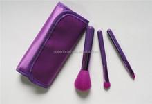 Nylon Hair 3pcs Makeup Brush Travel Set with Cosmetic Bag
