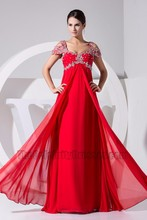 Gorgeous Red Chiffon Beaded Formal Dress Prom Gown Evening Dresses