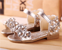 Girls silver sandals bow new children flower dress shoes