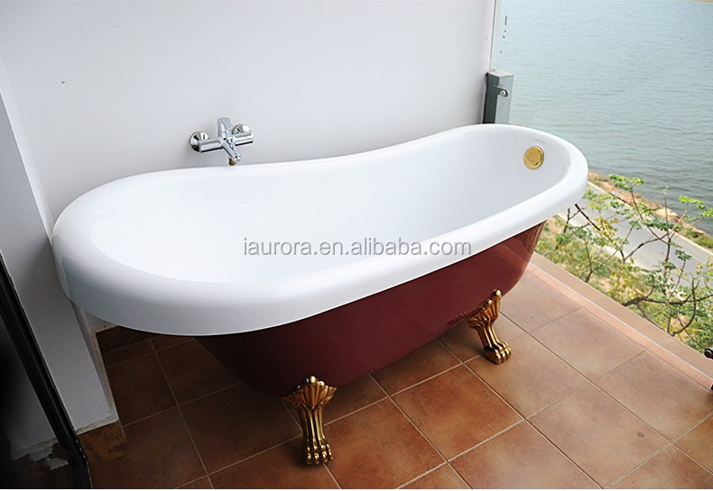 Acrylic Clawfoot Freestanding Red Bathtub With Legs Buy Clawfoot Bathtub Re