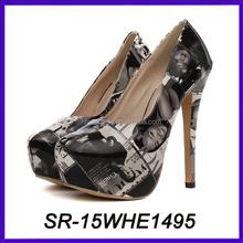 wax print shoes ladies high heel steel toe shoes women high heel shoes