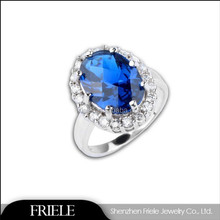 Fashion jewelry Round-Cut sapphire sterling silver ring