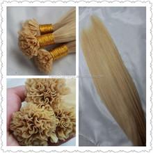 Top fashion nail hair/blond U tip hair extention with 100% virgin russian human hair