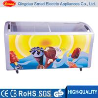 Curved sliding glass door popsicle display chest deep freezer manufacturer