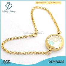 Stainless steel jewelry floating charms locket women gold bracelet 22k designs