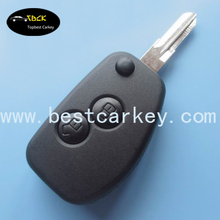 High quality car flip key shell with 2 buttons no logo for renault flip key