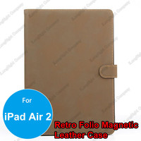 Wholesale Price Book Styles Retro Vintage PU Leather Wallet Flip Case Cover for iPad Air 2