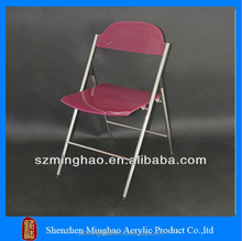 Red acrylic folding chair with metal legs, client design acrylic folding chair