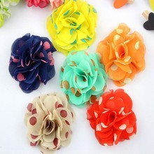 Wholesale fashion hair accessories shabby chiffon flowers wholesale fascinator 9 colors multilayer dots chiffon flowers