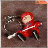custom hockey players plastic figure keychain manufacturer,OEM custom figure toys keychain factory,custom made plastic keychain