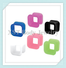 Silicone ear square tunnel piercing jewelry(4mm-24mm)