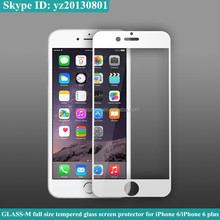 Border black or white full size tempered glass screen guard for iPhone 6/iPhone 6 plus
