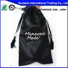 Custom Black Round Bottom Velvet Wine Bottle Bag